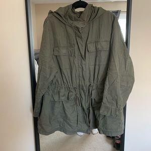 Plus Size Olive Green Canvas Jacket.